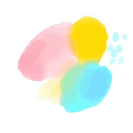 Watercolor stain, mix of yellow, pink and cyan. Delicate pastel brush texture. Vector color palette on white background.