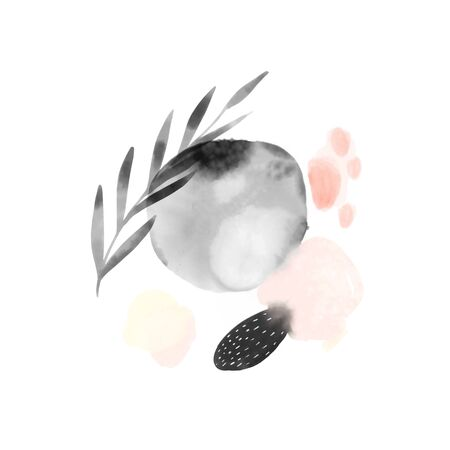 Watercolor bleed circles, gray and pastel pink, decorated with hand painted branch. Beautiful delicate background, subtle texture on white. Light brush touches design for beauty products. 免版税图像
