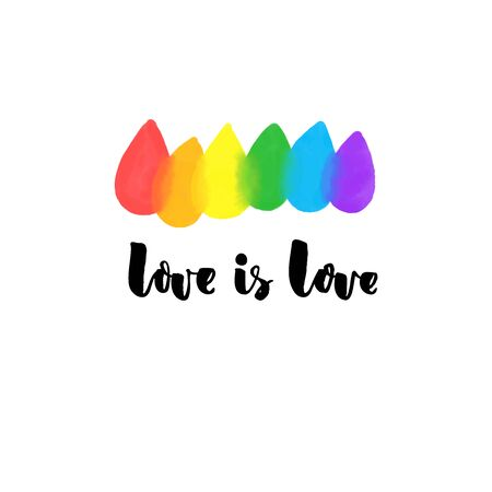 Love is love. Inspirational LGBT quote on rainbow hand painted background. Bright texture for pride. 免版税图像 - 149459439