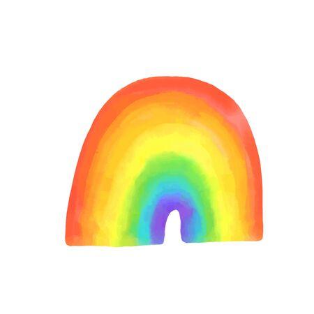 Watercolor rainbow, symbol of LGBTQ pride. Bright hand painted spectrum, vector illustrtaion.