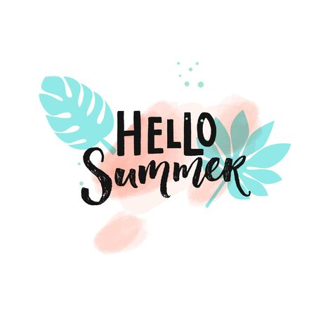 Hello Summer hand lettering inscription on pink watercolor brush strokes and blue tropical leaves. Summer season banner vector design. 矢量图像