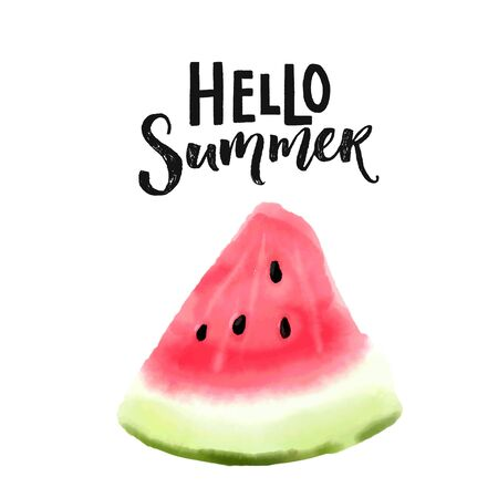 Hello summer text and watercolor watermelon slice vector illustration. Bright print design. Pink and green ripe piece of fruit isolated on white background
