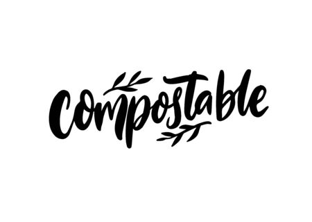 Compostable sign. Handwritten word for sustainable packaging, natural products, zero waste wrap. Calligraphy vector word. Black text isolated on white background 矢量图像