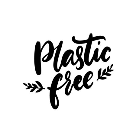 Plastic free badge for sustainable package. Eco friendly wrap, handwritten lettering design element. Black vector text isolated on white background.