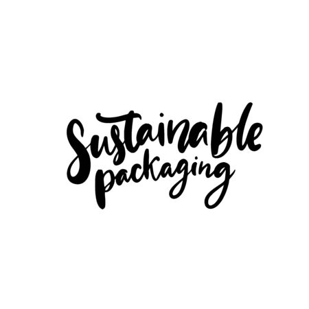 Sustainable packaging text for eco friendly package and wrapping. Vector calligraphy badge. Black emblem isolated on white background. 免版税图像 - 149980638
