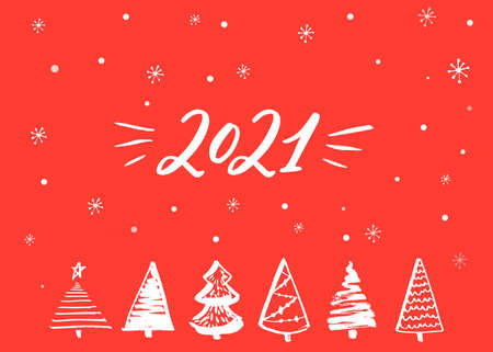 2021 greeting card. Hand lettering numbers of new year and hand drawn Christmas trees on red background 免版税图像 - 151517127