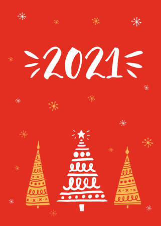 2021 year greeting card. Ink handwritten text and hand drawn Christmas trees on red background 일러스트