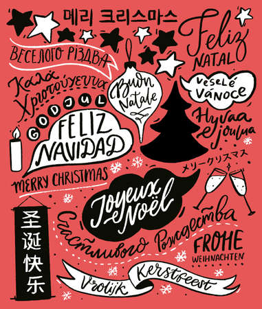 Merry Christmas in different languages. Greeting card design with hand lettering text, international winter holidays greetings. Red retro illustration with Cristmas tree. Feliz Navidad 免版税图像 - 151993109