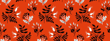 Red rose hip seamless pattern with black hand drawn branches and leaf. Folk art style, traditional ornament. 免版税图像 - 153635343