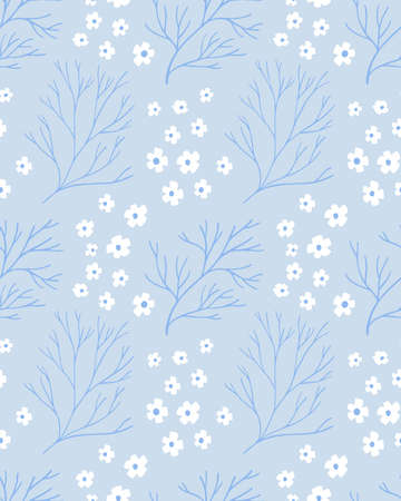 Blue nordic pattern with white flowers and branches. Delicate texture for textile design, repeated tile. Minimalistic scandinavian style with hand drawn elements. 免版税图像 - 153635358