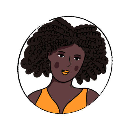 African American woman portrait. Beautiful young black girl in orange top with open shoulders. Hand drawn doodle vector avatar.