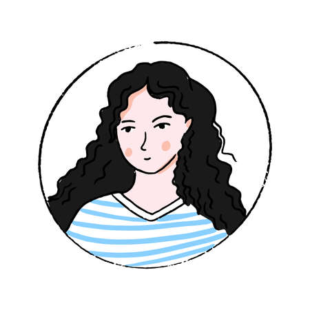 Female doodle portrait. Young woman with long curly hair in blue and white stripes shirt. Hand drawn face. 免版税图像 - 152738455
