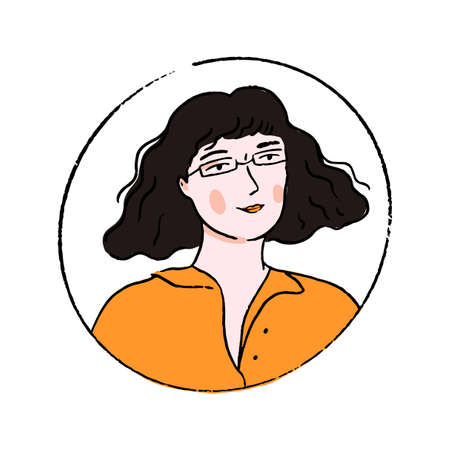 Young woman in glasses with wavy blunt bob hairstyle and fringe. Doodle portrait of confident girl in orange polo shirt.