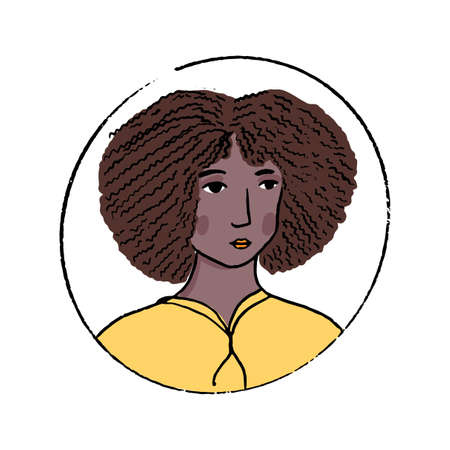 African American woman doodle portrait. Beautiful young black girl with curly hair in yellow hoodie. Hand drawn vector avatar.