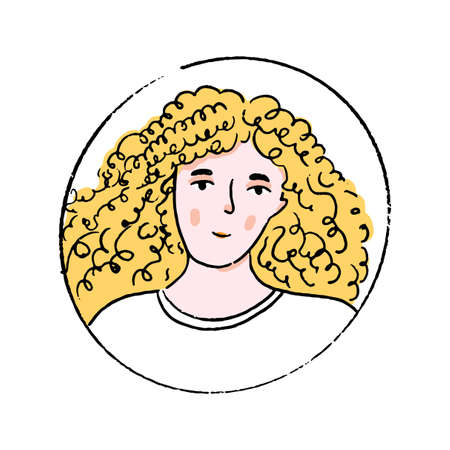 Young blonde woman with long curly hair in white tee. Doodle vector portrait of girl in round frame. 免版税图像 - 152738462