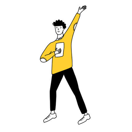 Doodle man with raised hand in yellow sweater and black pants. 免版税图像 - 153169238