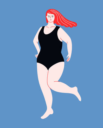 Beautiful plus size woman with flutter red hair in one piece swimsuit. Body positive flat vector illustration. Curvy female character on blue background. 免版税图像 - 153169240
