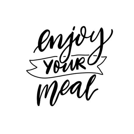 Enjoy your meal. Inspirational calligraphy quote for cafe menu, restaurant poster. Black script lettering isolated on white background Ilustración de vector