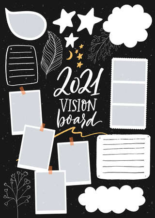 Vision board template with place for goals, lists, photos and inspiration. Dream collage for teens, nursery poster design. Journal page for planning, new year resolutions in 2021 免版税图像 - 154966669