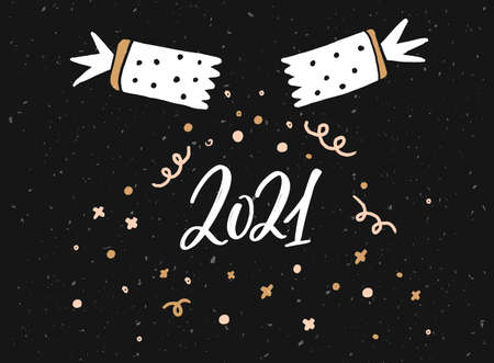 2021 greeting card design. Christmas confetti cracker and handwritten numbers. Black horizontal vector print 免版税图像 - 154966486