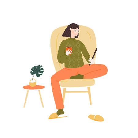 Young woman sitting in comfortable chair, holding and reading tablet, drinking coffee. Stay home illustration. Girl in glasses, green sweater, red sweat pants. Cozy vector illustration.