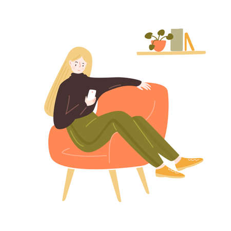 Young woman sitting in comfy chair, using smartphone. Stay home illustration. Blonde long hair girl in brown sweater, green sweat pants. Cozy room vector illustration. 矢量图像