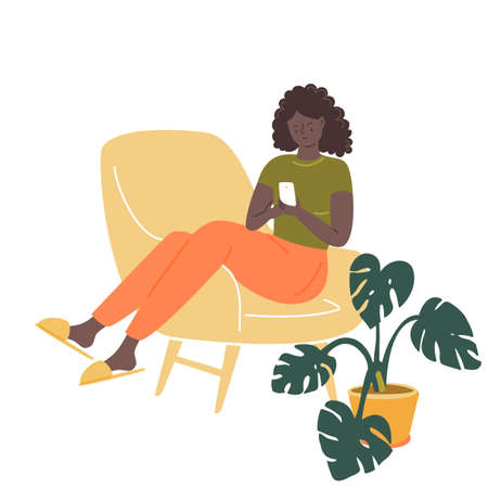 Black girl sitting in comfy chair, using her smartphone. Stay home concept. Cozy room vector illustration with potted plant monstera.