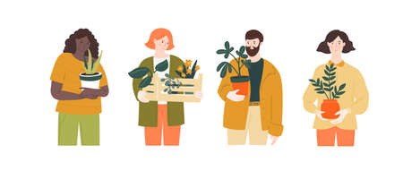 Man and women hold home plants in different pots. Green hobby, urban jungle lifestyle illustration. Cute characters with indoor tropical botany.