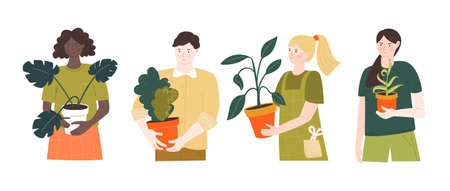 Home plants gardeners. Male and female characters holding pots. Vector illustration of people with green hobby. Girls and man isolated on white background. 矢量图像