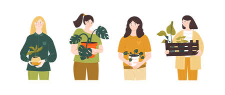 Young girls holding plants in pots. Urban jungle illustration. Home garden shopping concept. Set of different people.