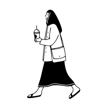 Walking girl holding coffee drawing. Vector doodle illustration of woman with drink in take away plastic glass. City character design, black silhouette isolated on white background