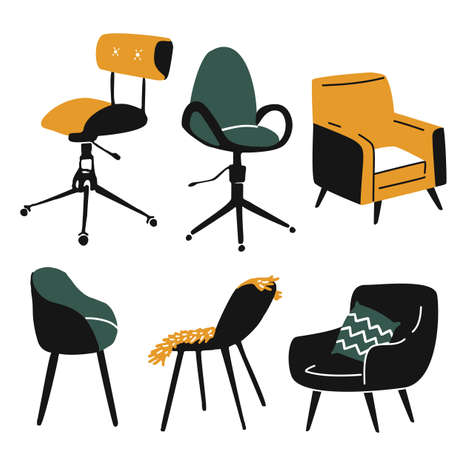 Armchairs set, compy sofa and office chair. Different types of sitting places. Modern design, simple doodle vector illustrations. 矢量图像