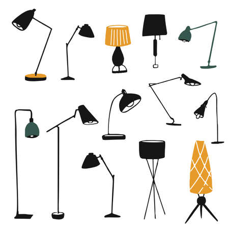 Table and floor lamps, illustrations set. Hand drawn silhouettes of modern home lampshades and bulbs. Black and yellow simple vector graphic. Cozy interior design elements.