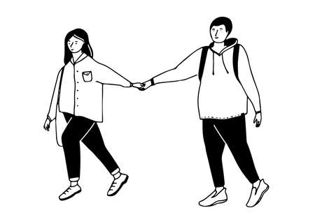 Young couple walking. Girl pull on guy by hand. Funny dating illustration. Simple vector black and white drawing.