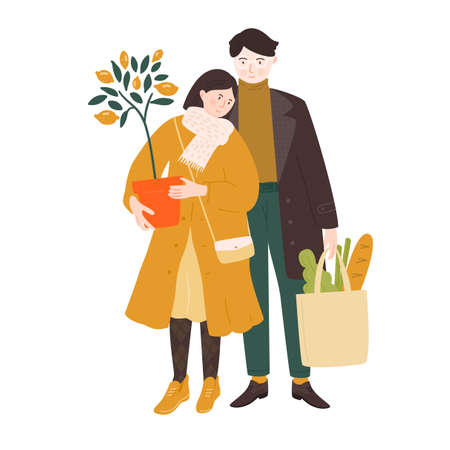 Couple shopping for home. Young woman holding a lemon tree potted plant, man carrying a bag with salad and bread. Vector illustration