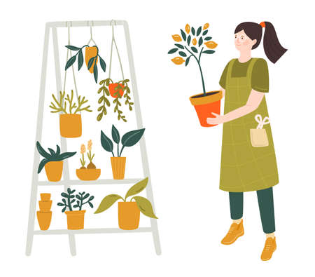 Woman holding lemon tree pot, home plants stand with hanging green plants. Different tropical flowers. Urban jungle vector illustration, florist character.