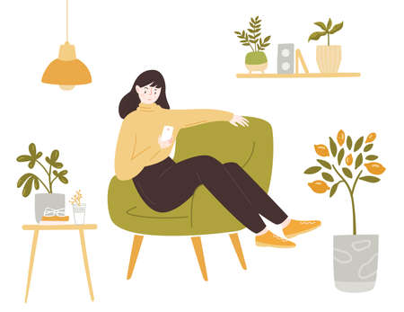 Young woman sitting in comfortable chair using smartphone. Stay home illustration. Lady in yellow sweater. Cozy room with potted plants vector illustration. Green interior.
