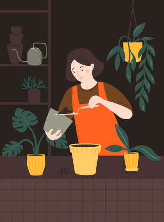 Woman transplanting houseplants, holding a soil on hand trowel. Girl potting plant in urban jungle room. Vector illustration with female character. 矢量图像