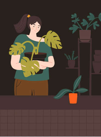 Girl holding big pot with monstera plant. Home gardener in room with plants stand and many different pots. Urban jungle vector illustration. 矢量图像