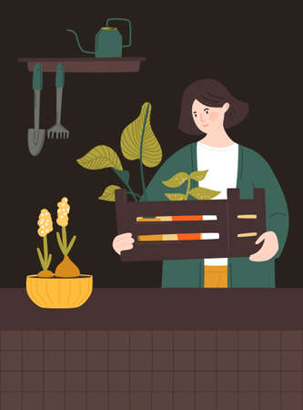 Woman holding a wooden box with houseplants. Home gardener taking care for potted plants. Room interior with tools, watering can on shelf. Urban jungle vector illustration.