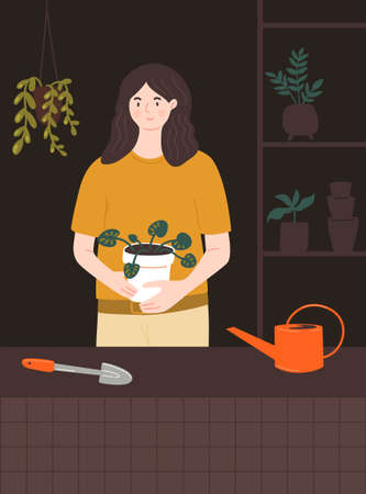 Woman holding big pot with pilea plant. Home gardener in room with plants stand, tools, watering can and many different pots. Urban jungle vector illustration. 矢量图像