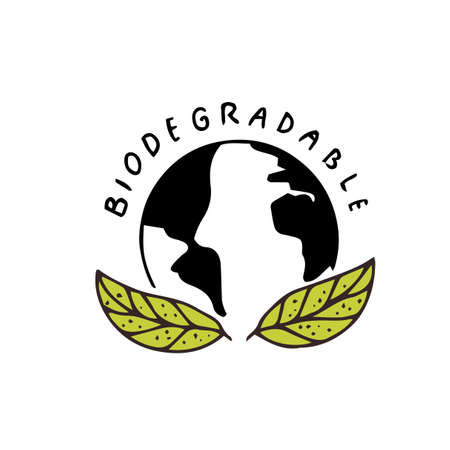 Biodegradable recyclable package sign. Vector icon of earth globe and green leaf. Eco friendly hand drawn stamp.