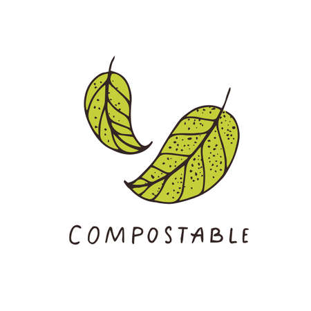 Compostable hand drawn sign with two leaves. Sketch drawing organic label. Vector icon. 矢量图像