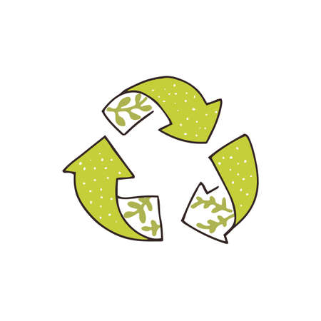 Hand drawn recycling icon, tree green arrows. Eco friendly stamp sketch with leaves. Vector symbol. 矢量图像