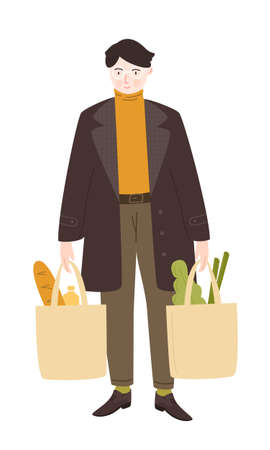 Male character shopping groceries. Man carrying full paper bags with food in both hands. Vector illustration isolated on white background 矢量图像
