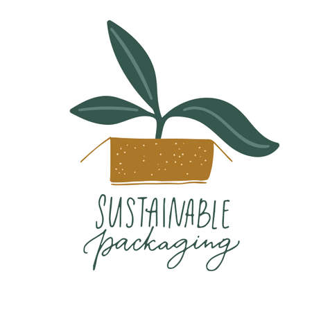 Sustainable packaging sign. Handwritten label design for eco friendly package. Little plant growing in paper box. 矢量图像