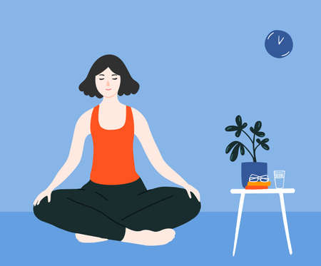 Young girl meditating in crossed legs pose on floor in blue room. Mindfulness practice at home for stress relief. Woman in lotus asana, yoga practicing vector illustration 矢量图像