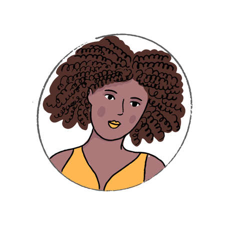 African American woman doodle portrait. Beautiful young black girl with curly hair. Hand drawn vector avatar