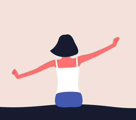 Woman wake up in the morning, stretching in bed with raised arms. Flat vector illlustration of waking up. 矢量图像