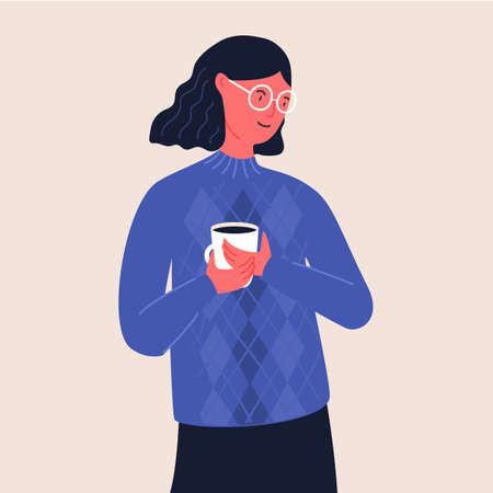 Woman in glasses hold cup of coffee. Girl with wavy hair in blue knitted sweater. Flat vector illustration.
